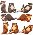 Cute otters in different actions vector image