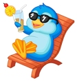 Cute penguin cartoon sitting on beach chair vector image