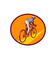 Cyclist Riding Bicycle Cycling Oval Woodcut vector image vector image