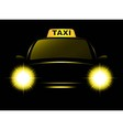 dark cab silhouette with taxi sign vector image vector image