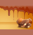 dripping melting chocolate background vector image