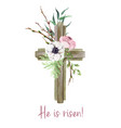 easter cross with floral elements easter decor vector image vector image