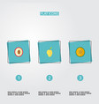 flat icons mango muskmelon litchi and other vector image vector image