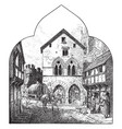 fourteenth century city street a typical street vector image vector image