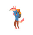 fox travelling with backpack cute cartoon animal vector image vector image