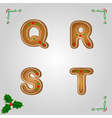 Gingerbread font q to t vector image vector image