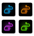 glowing neon route location icon isolated on vector image vector image