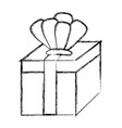 grunge present gift box with crown accessory vector image vector image