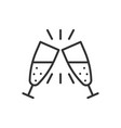 hampagne glass icon in flat style alcohol drink vector image vector image