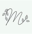 handwritten letter m monogram or logo brand vector image vector image