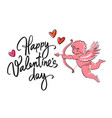 happy valentines day handwritten text with red vector image vector image