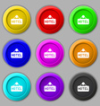 hotel icon sign symbol on nine round colourful vector image vector image