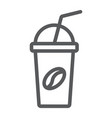 ice coffee line icon coffee and cafe cup sign vector image