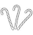 line art black and white candy cane set vector image