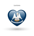 Love Louisiana state symbol Heart flag icon vector image vector image