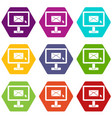 Monitor with email sign icon set color hexahedron