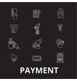 payment editable line icons set on black vector image vector image