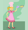pink chef girl holding frying pan vector image