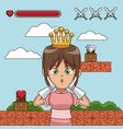 princess on videogame scenery cartoon vector image