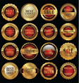 quality gold and red labels collection vector image vector image