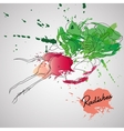 radish with color splash vector image vector image