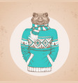 retro hipster animal frog dressed in pullover vector image vector image