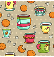 Seamless pattern with hand drawn cups cookies and vector image vector image