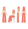 set female character from different views vector image vector image