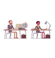 set of male and female teacher sitting at the desk vector image vector image