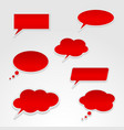 set various red speech bubbles vector image vector image