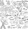 space doodles icons set hand drawn sketch vector image
