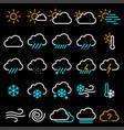 Thin line weather icon set
