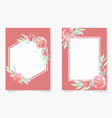 watercolor red peony with frame wedding vector image