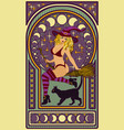 young witch with a black cat art nouveau style vector image vector image