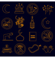 ramadan islam holiday color outline icons set vector image