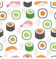 sushi set seamless pattern rolls endless vector image