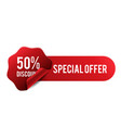 50 discount special offer red ribbon banner vector image