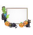 a cartoon halloween sign with frankenstein classic vector image