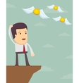 A sad man in a suit see off a flying away money