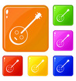 african guitar icons set color vector image vector image