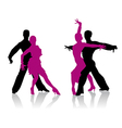 Ballroom dancers silhouettes vector image