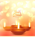 beautiful diwali festival greeting with light vector image vector image