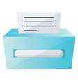 blue printer with a paper on a white background vector image vector image