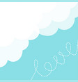 blue sky fluffy white cloud in the corner dash vector image
