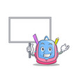 bring board school bag character cartoon vector image
