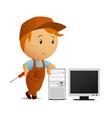 cartoon serviceman with computer vector image vector image