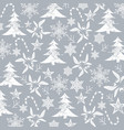 christmas pattern white silhouettes on a grey vector image