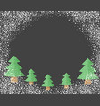christmas trees with falling snow vector image vector image