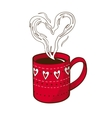 Coffee cup with heart shaped steam vector image vector image