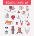 colorful christmas and winter sticker set vector image